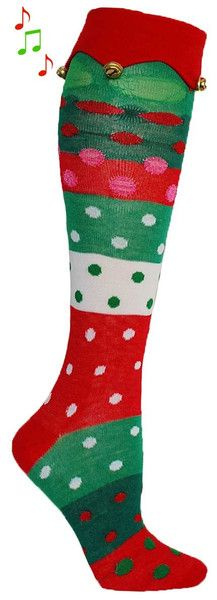 3172f846ae0 Get your jingle on with these knee high dotted and striped socks with bells  on the. Christmas Elf ...