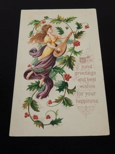 Vintage Christmas Greeting Card Holiday Wishes by RascalsRarities
