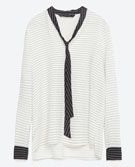 STRIPED BLOUSE WITH CONTRAST BOW - Blouses-TOPS-WOMAN | ZARA Ireland
