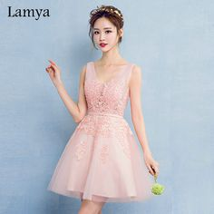 Click to order Lamya Pink V Neck... If you like please click the like button button http://isaledresses.com/products/lamya-pink-v-neck-plus-size-a-line-lace-prom-dresses-2017-gray-short-elegant-evening-party-gown-special-occasion-dress?utm_campaign=social_autopilot&utm_source=pin&utm_medium=pin  Global Shipping!