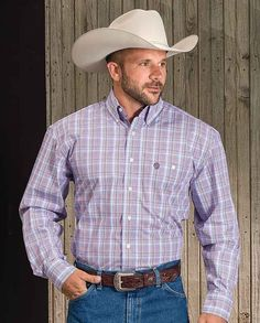 """Wrangler George Strait Light Blue Plaid Long Sleeve Shirt casual men's clothing for cowboys rugged men man western ranch style tough """"gifts for cowboys"""" """"gifts for men"""" Cowboys Gifts, Hot Cowboys, Rugged Men, Fall Jeans, My Life Style, Boating Outfit, Work Shirts, George Strait, Western Wear"""