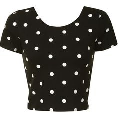 Black With White Polka Dot Crop Top ($15) ❤ liked on Polyvore featuring tops, shirts, crop tops, t-shirts, black, black scoop neck top, black white top, black striped shirt, black top and white stripes shirt