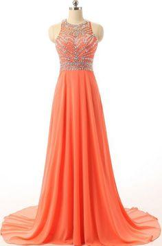 Long Prom Dresses, Orange Prom Dresses, Prom Dresses Long, Beaded Prom Dresses, Vogue Prom Dresses, Prom Long Dresses, Sleeveless Prom Dresses, Beaded/Beading Prom Dresses, Sweep train Prom Dresses