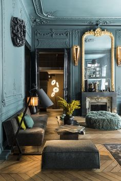 Rivoli – Laurence Simoncini Decoration – Famous Last Words Classic Interior, Modern Interior Design, Interior Design Inspiration, Interior Architecture, Design Ideas, Style Deco, Dark Interiors, French Decor, My New Room