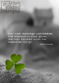"""""""May your blessings outnumber the shamrocks that grow, and may trouble avoid you wherever you go."""""""