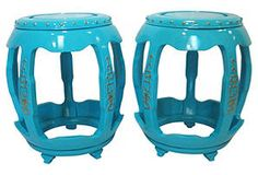 One Kings Lane - Turquoise Asian-Style Tables, Pair