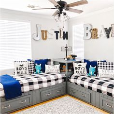 22 Beautiful Shared Room For Kids Ideas Below are some shared rooms ideas for kids to inspire your children's room decor. Shared Boys Rooms, Shared Bedrooms, Awesome Bedrooms, Ideas For Boys Bedrooms, Little Boy Bedroom Ideas, Boy Rooms, Boys Room Ideas, Cool Boys Room, Little Boys Rooms