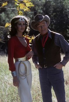 Lynda Carter with Roy Rogers. He only agreed to do the episode because they agreed to give Lynda more clothes than the usual leotard. I have so much respect for this man!