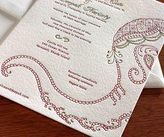 indian elephant letterpress wedding invitation by invitations by ajalon