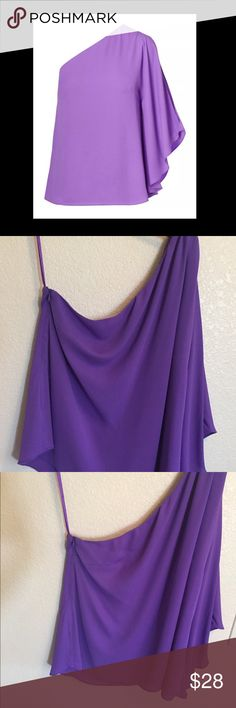 🆕Ralph Lauren lilac one shoulder top New with tags.  Ralph Lauren lilac georgette one shoulder top size XL.  Note: top have a little spot n the sleeve from being tried on and handle. Please see pictures for details. Ralph Lauren Tops Blouses