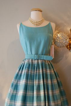1960's Dress // Vintage 60's Plaid Mad Men Party by xtabayvintage, $198.00