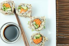 Love this Quinoa Veggie Rolls recipe for its explanation on rolling sushi at home, and well, that it uses quinoa-my fave- instead of rice!  #quinoarecipes #californiarolls #vegetariansushi #veggierolls #cleaneating