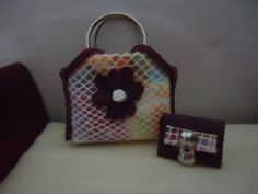 miniature leather handbag and wallet 112 scale by MINISSU on Etsy, $5.99