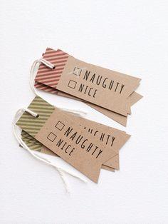 Naughty or Nice Holiday Christmas Tags. Christmas Gift Tag set. Funny Naught or nice holiday tags