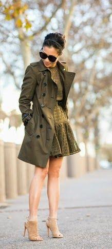 Crochet shift dress & Dark green trench
