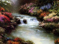 Autumn stream by Thomas Kinkade