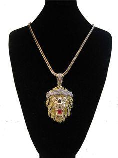ICED OUT BIG SEAN LION KING PENDANT GOLD FRANCO CHAIN NECKLACE HIP HOP RAP #Pendant