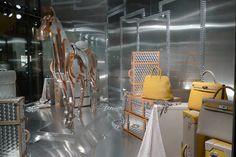 Hermes and his metal horse, window display, Paris visual merchandising