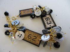 Unique Charm Bracelet Vintage Ruler Assemblage by SweetDaisyShoppe, $32.50