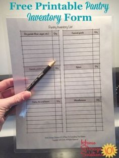 Free printable pantry inventory form to keep track of what you've got in stock in your pantry or food cupboards right now {courtesy of Home Storage Solutions Pantry Inventory Printable, Small Office Storage, Pantry List, Household Notebook, Baby Clothes Storage, Home Storage Solutions, Staying Organized, Organized Pantry, Food Storage