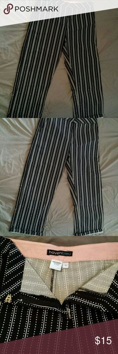 NWOT Pin-stripe pants These pants are so adorable- a statement piece to add to any wardrobe. They hit at the ankles and have very little stretch. havenbleu Pants Ankle & Cropped