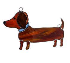 Stained Glass Dog Suncatcher  Dachshund Art  by Nostalgianmore