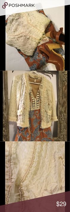 NEW LISTING Altar'd State cream lace jacket❤️❤️❤️ Altar'd State cream lace 3/4 sleeve jacket. Jacket has one clasp to close jacket. The jacket is in very good condition with no stains or holes. Please see last 2 pics for fabric content and care. Altar'd State Jackets & Coats