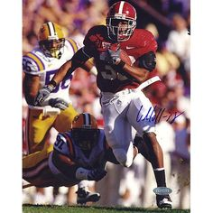 Glen Coffee Rush vs LSU Vertical 8x10 Photo - Glen Coffee was a standout running back at the University of Alabama and helped lead them to the 2009 Sugar Bowl. Coffees best statistical season came as a senior when he rushed for 1383 yards a 5.9 YPC Average and 10 TDs. Glen Coffee was selected in the third round of the 2009 NFL Draft in the 3rd round with the 74th overall pick by the San Francisco 49ers. Glen Coffee has hand signed this vertical 8x10 photograph of him rushing the ball vs…