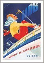 Montreux - Oberland Bernois Railway Vintage Swiss Ski Poster