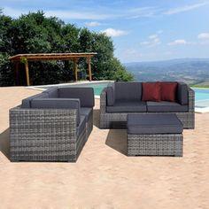 International Home�3-Piece Atlantic Gray Wicker Patio Conversation Set with Solid Gray Cushions