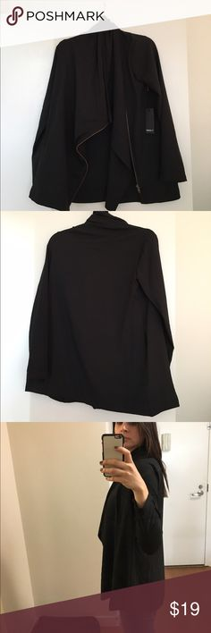 """Black Casual Jacket with Asymmetrical Zipper New with tags. 94% Polyester 6% Spandex. Full length: 26.5"""" Forever 21 Jackets & Coats Blazers"""