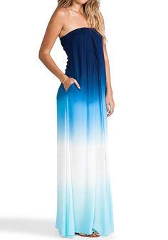Navy Blue Color Block Gradient Color Bandeau Dip Dye Stylish Sexy Prom Maxi Dress