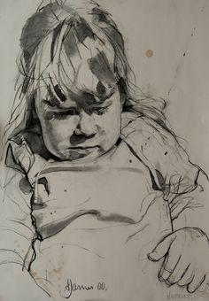 Andrew James - Harriet  2000  Charcoal on Paper  18 x 14 / 46 x 36