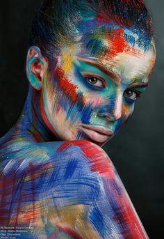 Ph,Retouch: Oxana Gernet MUA: Maria Moilanen, Olga Zhuravleva Model: Luba – Hobbies paining body for kids and adult Gif Kunst, Maquillage Normal, Circus Makeup, Fantasy Make Up, Paint Photography, Make Up Art, Doll Painting, Body Makeup, Eye Makeup
