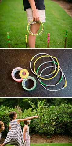 Here's an easy DIY for a classic backyard game-- ring toss. This ring toss set is made from copper pipe, metal rope and colorful duct tape. Paula Coldiron of Two Ellie came up with this project. Click through for the tutorial on The Home Depot Blog. || twoellie.com