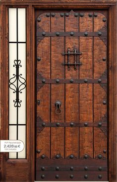 Interior wood doors are naturally beautiful. Cool Doors, Unique Doors, Rustic Doors, Wooden Doors, Gate Design, Door Design, Knobs And Knockers, Entrance Doors, Exterior Doors