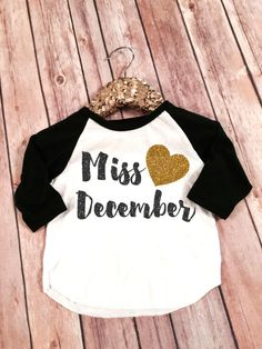Miss Birthday Girl Raglan Miss December Birthday by SnowSew
