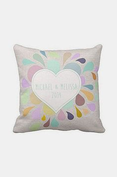 Personalized Heart Wedding Pillow Cotton