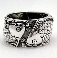 Japanese Rings for Men | Japanese Carp Koi Fish Tattoo 925 Sterling Silver Mens Band