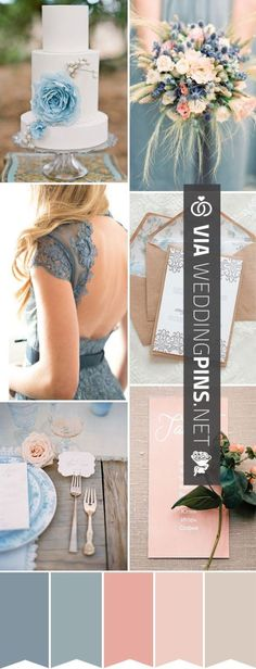 Wedding Colour Schemes 2015 – Perfect for a Summer Day – a Blue, Peach Dusky Rose Pink Wedding Color Palette