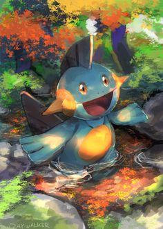 It's Marshtomp, the first evolution form of Mudkip. Pokemon Photo, O Pokemon, Pokemon Memes, Pokemon Fan Art, Pokemon Cards, Type Pokemon, Fanart, Ps Wallpaper, Deadpool Pikachu