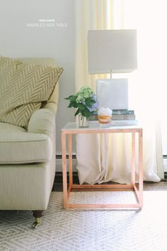 #copper, #diy, #living-room, #lamp, #metallic, #side-table, #ikea, #marble, #ikea-hack    Read More: http://www.stylemepretty.com/living/2013/07/22/diy-ikea-side-table-hack/
