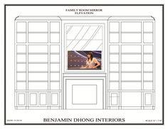 Interior Designer Benjamin Dhong's TV Mirror over fireplace concept drawing