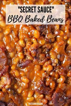 """These """"Secret Sauce"""" BBQ baked beans are a perfect balance of tangy, spicy and sweet! These Secret Sauce BBQ baked beans are a perfect balance of tangy, spicy and sweet! Baked Beans Crock Pot, Canned Baked Beans, Best Baked Beans, Slow Cooker Baked Beans, Baked Beans With Bacon, Baked Bean Recipes, Healthy Recipes, Cooking Recipes, Homemade Baked Beans"""