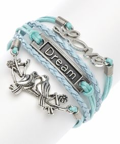 Mint Love Birds Braided Bracelet