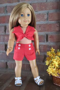 Hey, I found this really awesome Etsy listing at https://www.etsy.com/listing/189149227/american-girl-doll-clothes-red-polka-dot