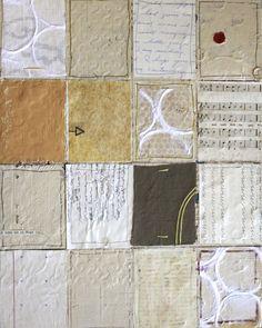 Ali Edwards, 11x14 acrylic paint, gel medium, wax, fabric, papers, stitching