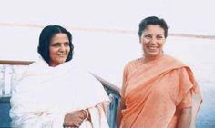 Picture: Anandamayi Maa & Daya Mata (1958). #yogananda   [That's the year I was born... BK Thigpen]