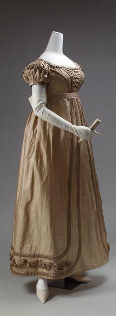 Regency Period Dress, 1819–1823, European, silk