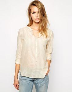 73% off Zadig & Voltaire - Cotton Collarless Tunic Blouse Ecru White Stripe - $94.00